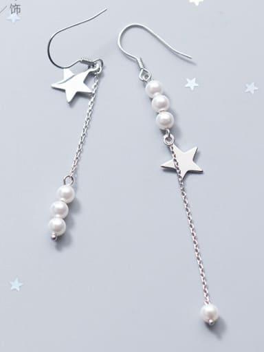 Sterling Silver Star imitation pearl unsymmetrical Earrings