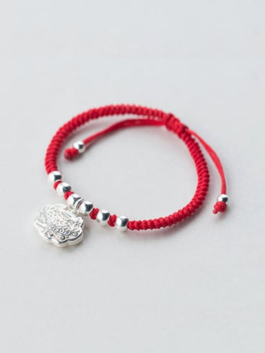 Sterling silver Chinese style long life lock red thread bracelet
