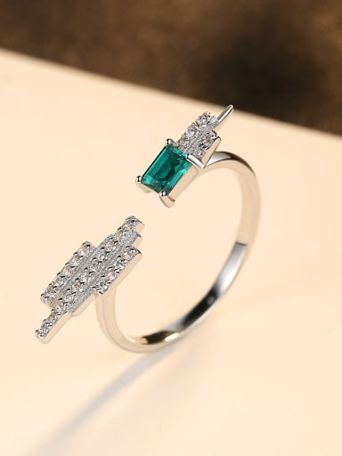 Sterling silver emerald inlaid zircon geometric free size ring