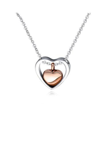 Titanium With Platinum Plated Simplistic Heart Locket Necklace