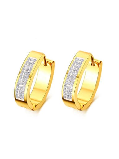All-match Gold Plated Geometric Shaped Rhinestone Titanium Clip Earrings