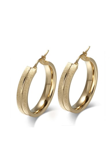 Exquisite Gold Plated Geometric Shaped Frosted Drop Earrings