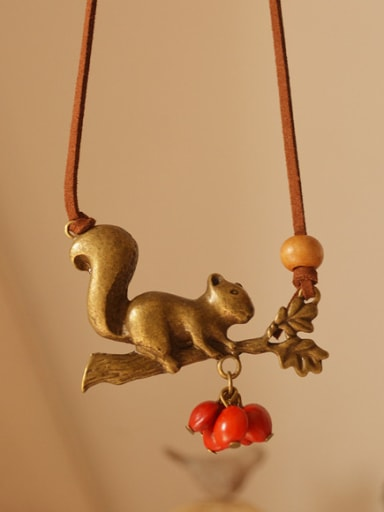 Squirrel Shaped Red Beads Necklace