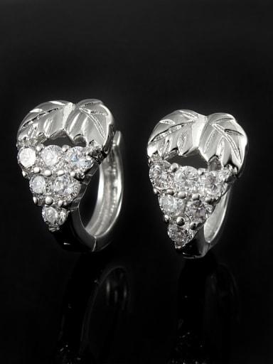 18K Platinum Plated Grape 4A Zircon Clip Earrings