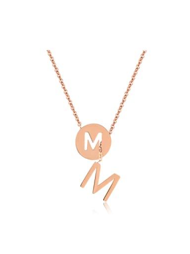 Simple Letter M Rose Gold Plated Titanium Necklace
