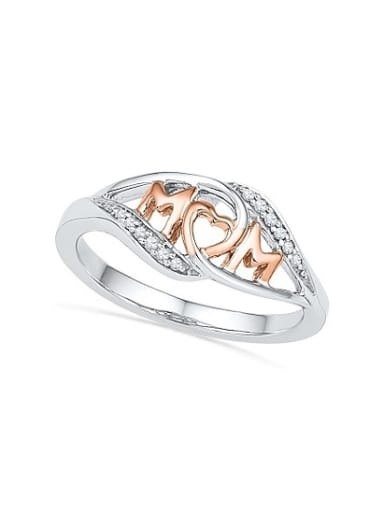 Fashion Double Color Letter Shaped Rhinestone Ring