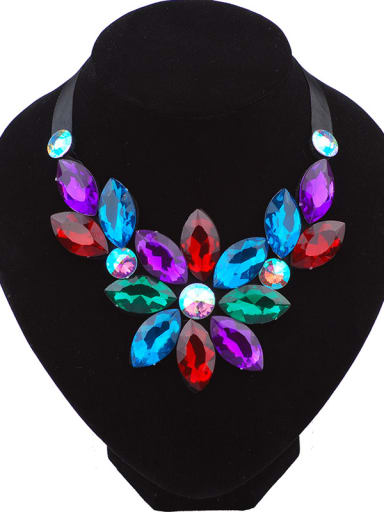 Exaggerated Marquise Resin Flower Black Ribbon Necklace