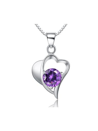 Heart-shape Purple Crystal Zircon Pendant