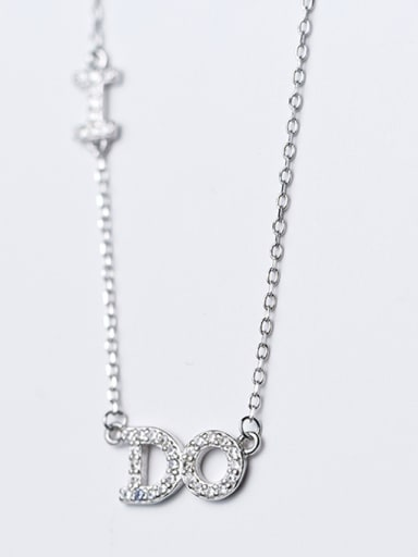 Fashion Monogrammed Shaped Rhinestones S925 Silver Necklace