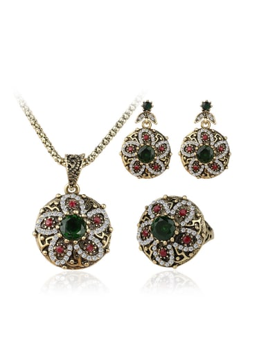 Bohemia style Resin stones White Crystals Flowery Three Pieces Jewelry Set