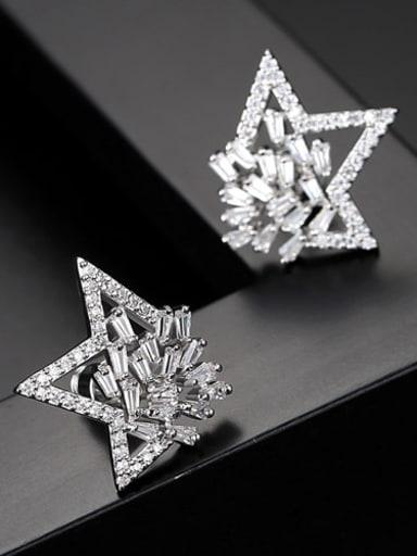 AAA zircon triangular star element Earrings