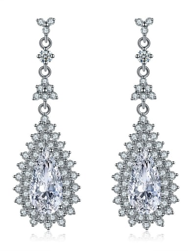 Copper With 18k White Gold Plated Trendy Water Drop Party Cluster Earrings