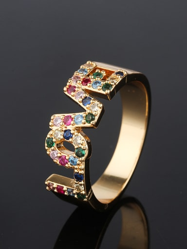 Copper With Cubic Zirconia Fashion Monogrammed Multistone Rings