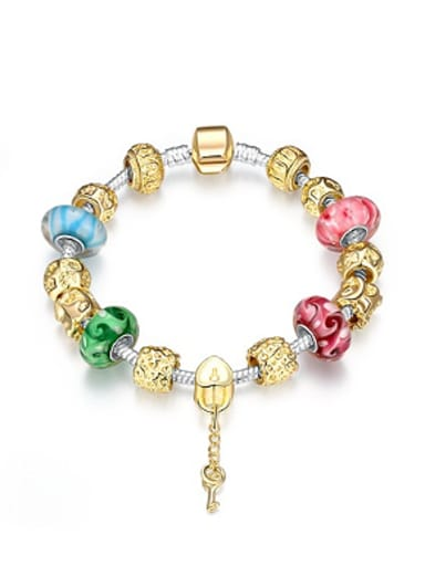 Gold Plated Decorations Glass Beads Bracelet