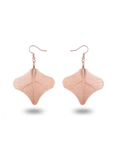 Exquisite Rose Gold Plated Natural Leaf Drop Earrings