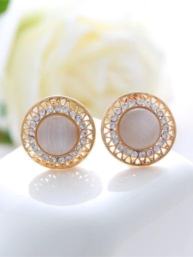Fashion Round Opal stones Rhinestones Alloy Stud Earrings