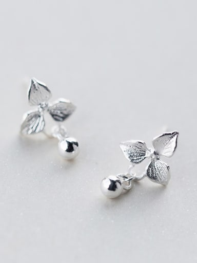 S925 silver fashion sweet flower bead cuff earring