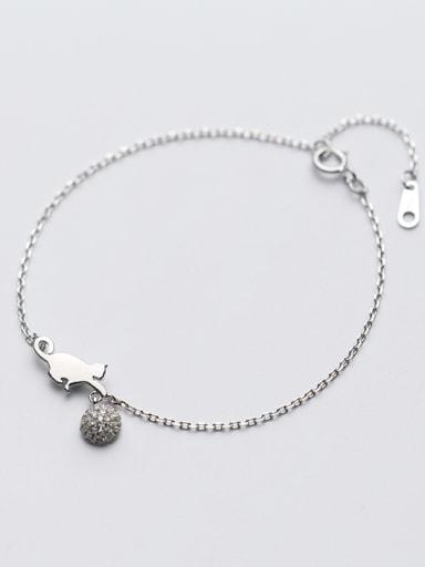 Fashionable Adjustable Cat Shaped Crystals S925 Silver Bracelet