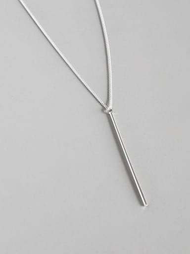 Sterling silver personality simple geometry  square tube necklace