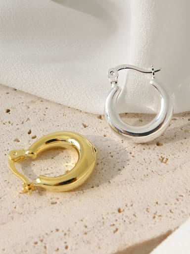 925 Sterling Silver With 18k Gold Plated Simplistic Round Clip On Earrings