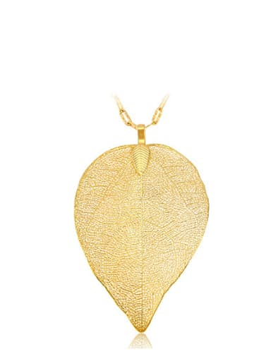 Copper Alloy 24K Gold Plated Creative Imitation Leaf Pendant