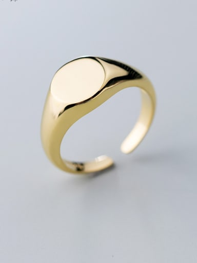 925 Sterling Silver With Gold Plated Simplistic Oval Free Size  Rings