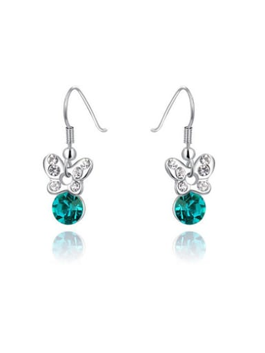Exquisite Blue Butterfly Shaped Austria Crystal Earrings