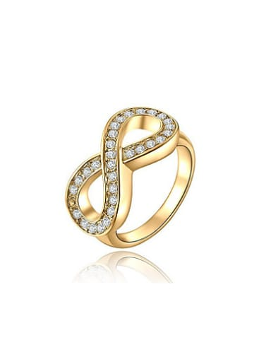 Fashionable 18K Gold Plated Number Eight Shaped Ring