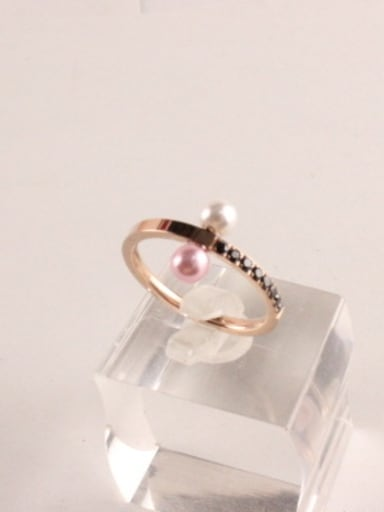 Cross Artificial Pearl Black Stones Ring