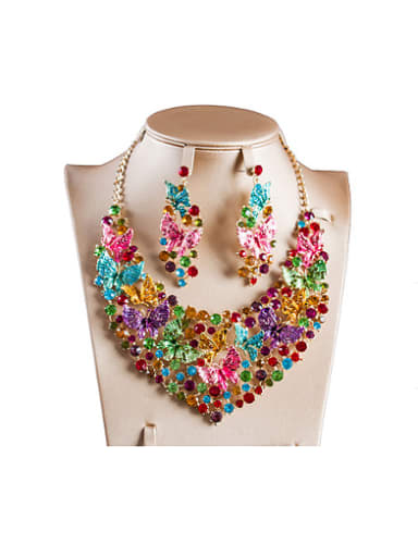 Butterflies Cubic Glass Rhinestones Two Pieces Jewelry Set