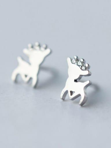 S925 silver cute deer stud cuff earring