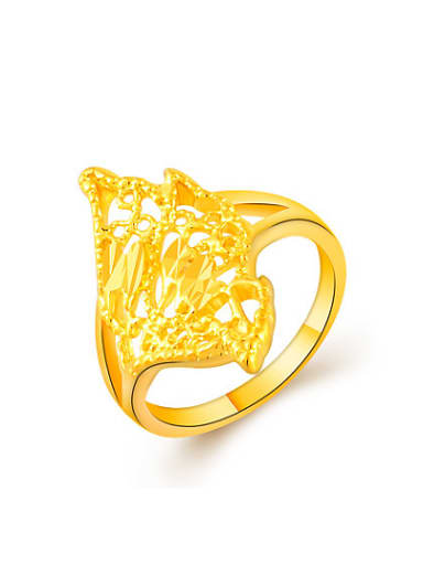 High Quality 24K Gold Plated Geometric Shaped Ring