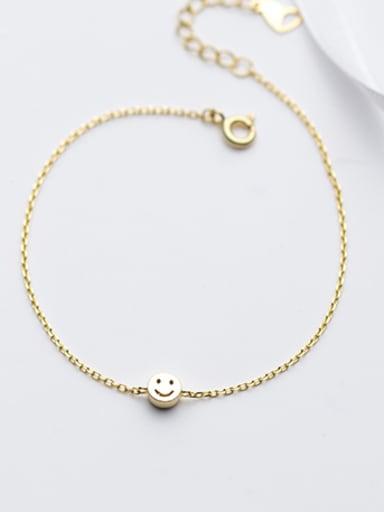 Lovely Gold Plated Smiling Face Zircon S925 Silver Bracelet