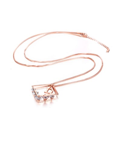 Titanium Steel Rose Gold Zircon Fashion Necklace