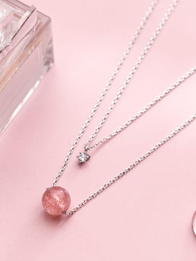 S925 Silver Necklace Pendant female wind strawberry Crystal Double Necklace temperament single drill short clavicle chain D4268