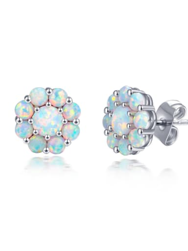 Elegant Flower Shaped Blue Stones Fashion Stud Earrings