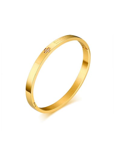 Trendy Gold Plated Geometric Shaped Rhinestone Titanium Bangle