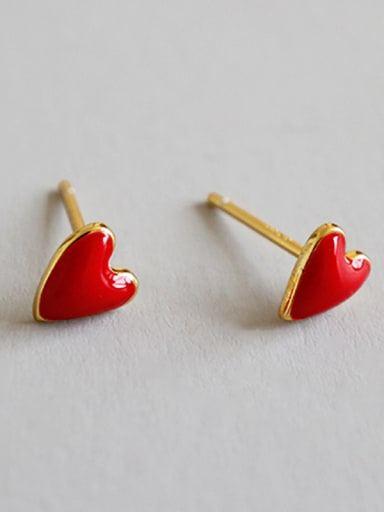 Sterling Silver Mini red heart peach Stud Earrings
