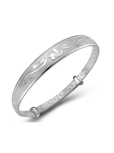 Classical 990 Silver Chinese Character Adjustable Bangle