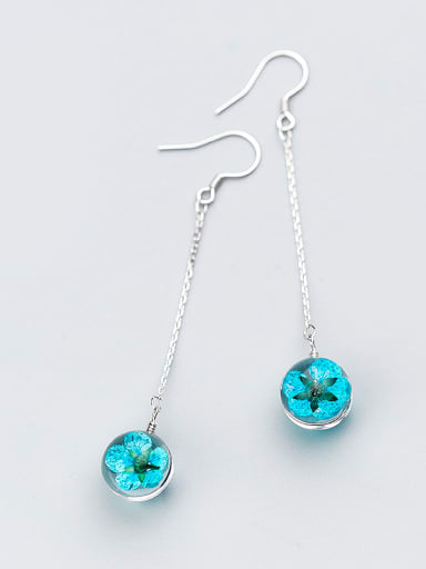 Fresh Blue Round Shaped Crystal S925 Silver Drop Earrings