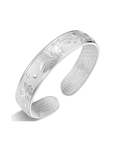 Bohemia style 990 Silver Flowers-etched Opening Bangle