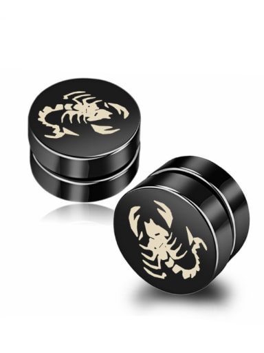 Stainless Steel With Black Gun Plated Personality Insect scorpion Stud Earrings