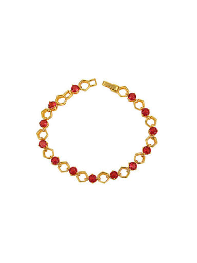 Copper Alloy 24K Gold Plated Fashion Hexagon Hollow Round Zircon Bracelet
