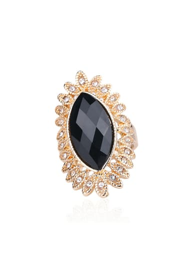 Retro Noble style Black Oval Resin stone Rhinestones Gold Plated Ring