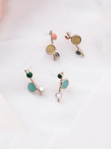 Alloy With Rose Gold Plated Cute Round   Enamel Drop Earrings