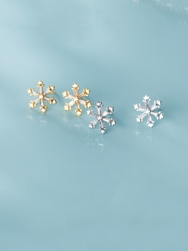 925 Sterling Silver With Cubic Zirconia Simplistic Snowflake  Stud Earrings
