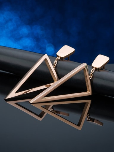 Titanium 18K Rose Gold Triangle Shaped drop Earring