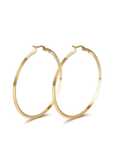 Fashio Round Shaped Gold Plated Titanium Drop Earrings