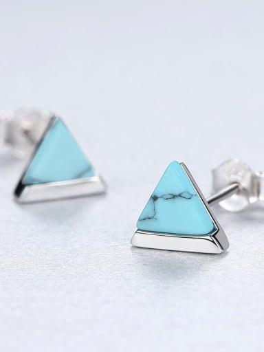 Sterling silver retro triangle turquoise stud earrings