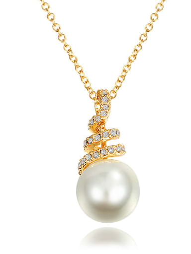 Elegant 18K Gold Plated Artificial Pearl Necklace